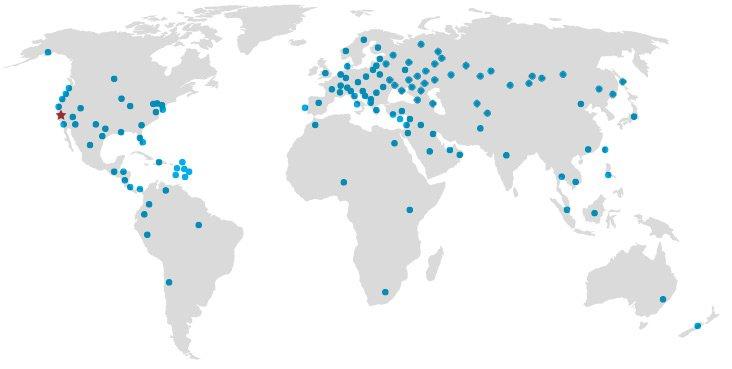 map 83 countries - Сделано в США
